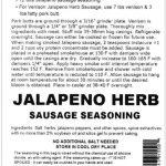 Jalapeno Herb Sausage Seasoning – Makes 50 lbs
