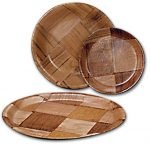 Adcraft Plates Round W/Wood 10″