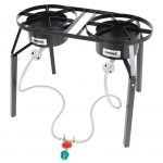 Bayou Classic Dual Burner Cooker, extension legs, 10 psi