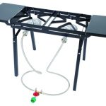 Bayou Classic Dual Fry Burner w/ Side Shelves, 10 psi