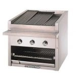 Bakers Pride Charbroiler, gas, counter model, 72″W standard profile, 69″W x 22″D broiler area, 17 Glo-Stones, adjustable top grate assembly w/floating 1/2″ dia. steel rods, s/s grease pan, s/s top, front & sides, 4″ legs, 306,000 BTU