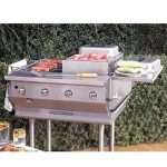 Bakers Pride Outdoor Charbroiler, gas, built-in, 29″W x 24″D broiling area, 4 burners, (1) nickel-chrome plated top grate, roll-top hood, s/s finish, 8″ dp work deck, valve panel, slide-out water/grease pan, 80,000 BTU