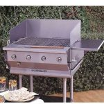 Bakers Pride Outdoor Charbroiler, gas, 29″W x 24″D broiling area, 4 burners, (1) nickel-chrome plated top grate, s/s finish, 8″ dp work deck, valve panel, slide-out water/grease pan, s/s stand w/legs & casters, 80,000 BTU