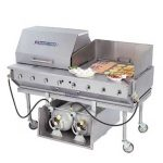 Bakers Pride Outdoor Charbroiler, gas, 29″W x 24″D broiling area, 4 burners, (1) nickel-chrome plated top grate, s/s finish, 8″ dp work deck, valve panel, slide-out water/grease pan, single tank caddy, (1)40 lb. LP tank w/hose & reg, roll-top hood, s/s stand w/legs & casters,80,000 BTU