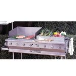Bakers Pride Outdoor Charbroiler, gas, built-in, 58″W x 24″D broiling area, 8 burners, (1) nickel-chrome plated top grate, roll-top hood, s/s finish, 8″ dp work deck, valve panel, slide-out water/grease pan, 160,000 BTU