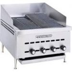 Bakers Pride Charbroiler, natural gas, counter model, 31-1/2″W x 24″D broiling area, 6 s/s radiants, cast iron grates manually adjustable to three levels, s/s removable grease pan, safety pilot, s/s exterior, 4″ chrome legs, 120,000 BTU, (for export only)