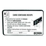 BUNN Satellite Coffee Systems, Card Assy, Recipe Transfer(Brw)