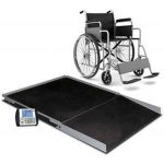 Cardinal Detecto wheelchair scale digital geriatric stationary 1000 lb x .2 lb/ 450 kg x .1 kg platform 48″ X 48″