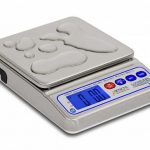 Cardinal Detecto Waterproof IP67 Portion Scale Capacity 10lb x 0.01oz, 5000g x 1g 7.5in x 6.75 in stainless platform AC adapter & rechargeable battery