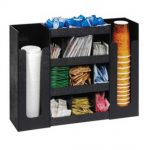 Dispense Rite Six section cup, lid and condiment organizer