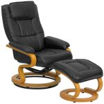 Flash Furniture Black Recliner and Ottoman w/BaseBT-7615-BK-CURV-GG