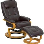 Flash Furniture Brown Recliner and Ottoman w/BaseBT-7615-BN-CURV-GG