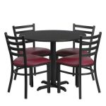 Flash Furniture 36″ Round Black Laminate Table SetHDBF1005-GG
