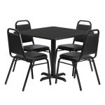 Flash Furniture 36″ Square Black Table Set w/4 ChairsHDBF1009-GG