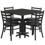Flash Furniture 36″ Square Black Laminate Table SetHDBF1013-GG