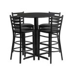 Flash Furniture 30″ Round Black Laminate Table SetHDBF1021-GG