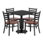 Flash Furniture 30″ Square Black Laminate Table SetMD-0003-GG