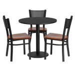 Flash Furniture 30″ Round Black Laminate Table SetMD-0007-GG
