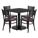 Flash Furniture 36″ Square Black Laminate Table SetMD-0008-GG