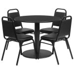 Flash Furniture 36″ Round Black Laminate Table SetRSRB1001-GG
