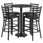Flash Furniture 30″ Round Black Laminate Table SetRSRB1021-GG