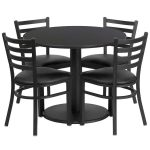 Flash Furniture 36″ Round Black Laminate Table SetRSRB1029-GG