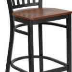 Flash Furniture Black Vert Back Metal StoolXU-DG-6R6B-VRT-BAR-CHYW-GG