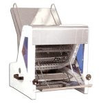 Omcan (FMA) Bread Slicer, 15″W blade, 22″L chute, 5″ max. loaf height, 7/16″ slice thickness, 1/4 HP, 110V/60/1, CE