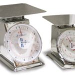 Omcan (FMA) Spring Scale, dial, 2 kg x 10 g/ 4 lb. x 1/2 oz, zero adjust for compensation, stainless steel construction