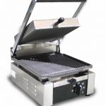 Omcan (FMA) Sandwich Grill, single, 10″ x 9″ grill surface, 570°F thermostat control, stainless steel body, 15 amps, 1.7 kw, ETL and ETL Sanitation