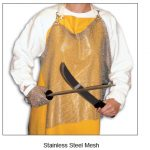 Omcan (FMA)'Mesh Apron, 20″W x 34″L, stainless steel
