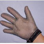 Omcan (FMA) 'Mesh Glove, reversible 5 finger, stainless steel, orange strap, x-large