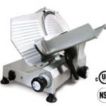 Omcan (FMA) 'Meat Slicer, manual, gravity feed, 12″ dia. carbon steel blade, belt driven blade assembly, .35 hp, NSF, UL