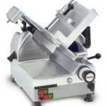 'Omas Meat Slicer, automatic, gravity feed, 12″ dia. carbon steel blade, belt driven blade assembly, 1/2 hp, NSF, ETL