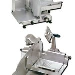 'Omas Meat Slicer, manual, straight feed, 14-1/2″ dia. carbon steel blade, gear driven blade assembly, 1/2 hp, NSF, ETL & cETL, UL