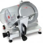 Omcan (FMA) 'Meat Slicer, manual, gravity feed, 10″ dia. knife, 150 W, .20 HP, ETL & cETL, CE