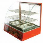Omcan (FMA) 'Food Warmer/Display Case, curved glass, (2) tier, bottom holds (2) pans, temperature control, 1.2 kw
