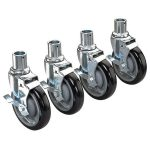 Krowne Metal Universal Wire Shelving Caster, 5″ Wheel, Set of 4