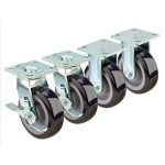 Krowne Metal Extra Heavy Duty Large Plate Caster, 6″ Wheel, Set of 4