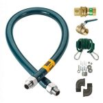 Krowne Metal Complete Gas Hose Connector Kit, 72″, 1″ Inside Diameter