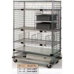 Nexel Heavy Duty Poly-Z-Brite 24X48X69 5 Wire/1 Solid Shelf Exchange & Linen Transport Truck