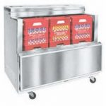 Nor-Lake Open Front Milk Cooler, 34-5/8″ W, drop front, 8 case capacity, heavy duty floor racks, thermometer, stainless steel exterior and interior, locking swivel casters, 1/5 hp, 115v/60/1, 3.3 amps, ENERGY STAR®, UL, C-UL, UL Sanitation