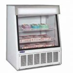 Nor-Lake Ice Cream Horizontal Display Merchandiser, angled, 11.8 cubic feet, 40″ W, white enamel exterior and interior, fluorescent lamp, front display window, bottom mount self-contained refrigeration, leveling legs, 3/4 hp, 115v/60/1, 13.6 amps, NEMA 5-20P, UL, cUL