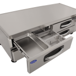 Nor-Lake AdvantEDGE™ Chef Base, 72″ W, 14.3 cubic feet capacity, (4) drawers, curved handle with recessed pocket, full marine drip guard, stainless steel interior & exterior, casters, 1/5 hp, 115v/60/1, UL, C-UL, ETL Sanitation