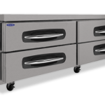 Nor-Lake AdvantEDGE™ Chef Base, 84″ W, 17.2 cubic feet capacity, (4) drawers, curved handle with recessed 4 pocket, full marine drip guard, stainless steel interior & exterior, casters, 3/8 hp, 115v/60/1, UL, C-UL, ETL Sanitation