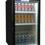 Nor-Lake AdvantEDGE™ Refrigerated Merchandiser, countertop, (1) epoxy coated floor rack, (2) epoxy coated shelves, interior LED lighting, (1) hinged glass door, white interior, black steel exterior, 115v/60/1-ph, 1/10 HP motor