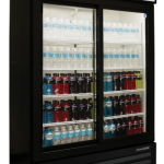 Nor-Lake Refrigerated Merchandiser, 45.7 cubic feet, Two-door, bottom mount compressor, (4) epoxy coated shelves per door, black exterior, white interior, sliding glass doors, 1/3 hp, 115v/60/1, cord and plug, NSF, UL, c-UL listed