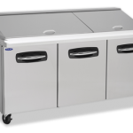 Nor-Lake AdvantEDGE™ Mega Top Refrigerated Sandwich Unit, 72-3/8″ W, 30 pan opening (30-1/6 pans included) cutting board, (2) doors (on right & center) (2) drawers on left, auto defrost, magnetic gaskets, (2) epoxy coated shelves, temperature range 32° to 40° F, stainless steel interior, top, front & ends, self-contained refrigeration, 6″ casters, 3/8 hp, 115v/60/1, c