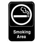 Thunder Group 6″ X 9″ Information Sign With Symbols, Smoking Area, Model# PLIS6902BK