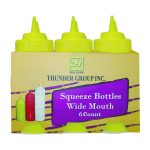 Thunder Group 16 Oz Wide-Mouth Squeeze Bottle, Clear (6Pk)